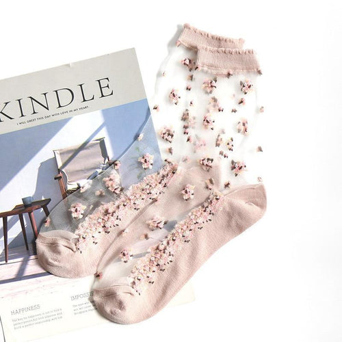 Silk Flower Print Transparent Socks