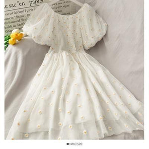 Puffy Sleeve Embroidered Dress
