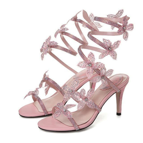 Pink Flowers Stilettos