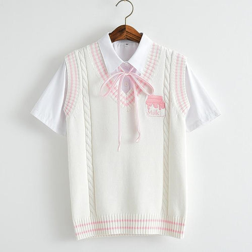 Strawberry Milk Embroidered Vest