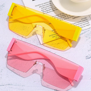 Rimless One Piece Square Sunglasses