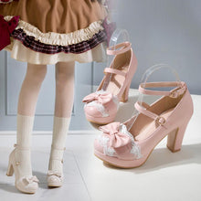 Load image into Gallery viewer, Lolita High Heels Bow Pumps