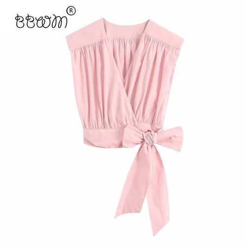 Pink Pleated Side Bow Short Blouse
