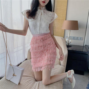 White Mesh Embroidery Top and Pink Tassel Skirt