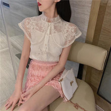 Load image into Gallery viewer, White Mesh Embroidery Top and Pink Tassel Skirt