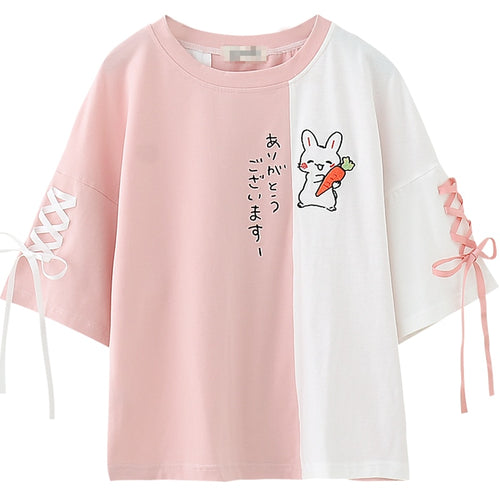 Happy Bunny Lace up Sleeves Tee