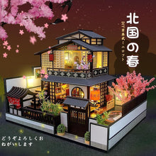 Load image into Gallery viewer, Two Story Japanese DIY Dollhouse Kit with Sakura Tree