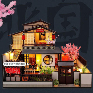 Two Story Japanese DIY Dollhouse Kit with Sakura Tree