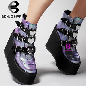 Platform Heart Ankle Boots