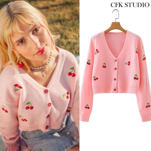 Cherry Knitted Cardigan