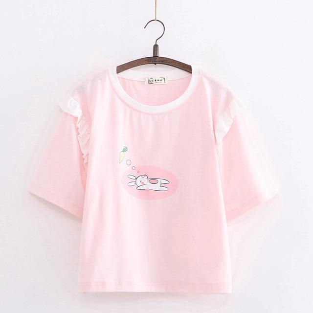 Sleepy Bunny Pink Cotton Tee