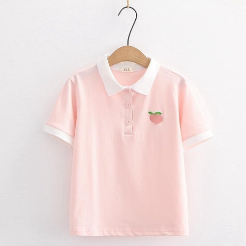 Turndown Collar Tee With Peach Embroidery