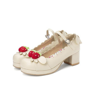 Princess Lolita Strawberry Mary Jane Shoes