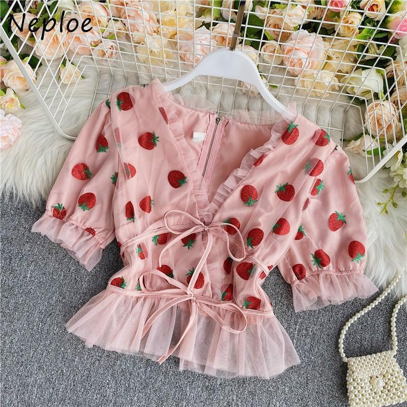 Strawberry V Neck Blouse