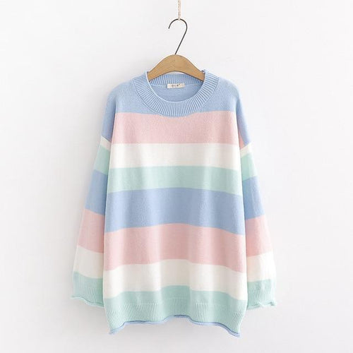 Pastel Rainbow Knit Sweater