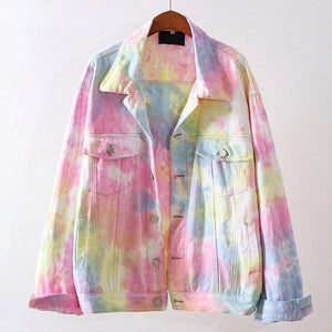 Rainbow Tie Dye Denim Jacket
