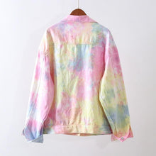 Load image into Gallery viewer, Rainbow Tie Dye Denim Jacket