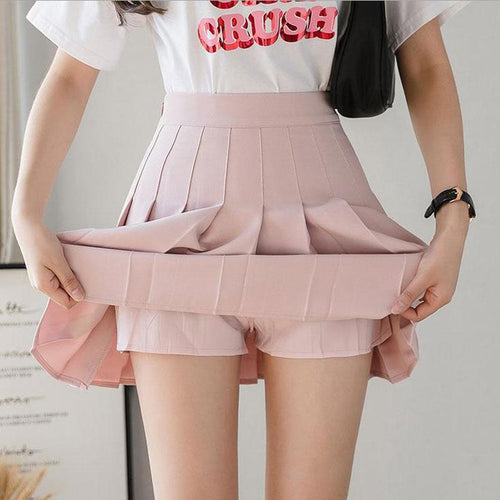 High Waist Pleated Skort