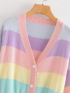 Rainbow Striped Cardigan