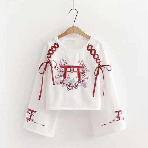 Red and White Torii Gate Sweater