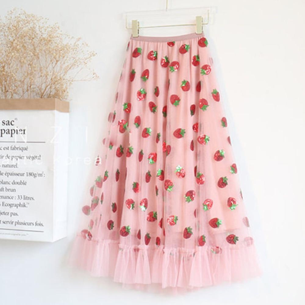 Strawberry Embroidered Skirt