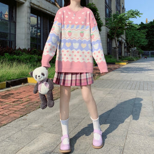 Strawberry Pastel Knit Sweater