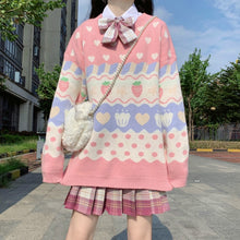Load image into Gallery viewer, Strawberry Pastel Knit Sweater