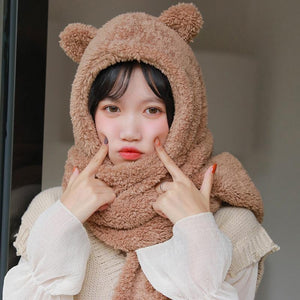 Cute Bear Hat Scarf