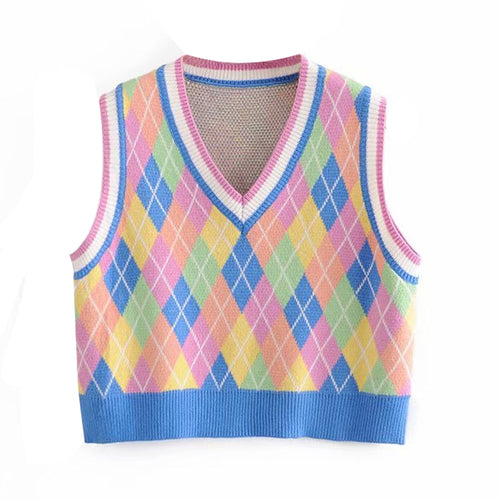 Rainbow Argyle Sweater Vest