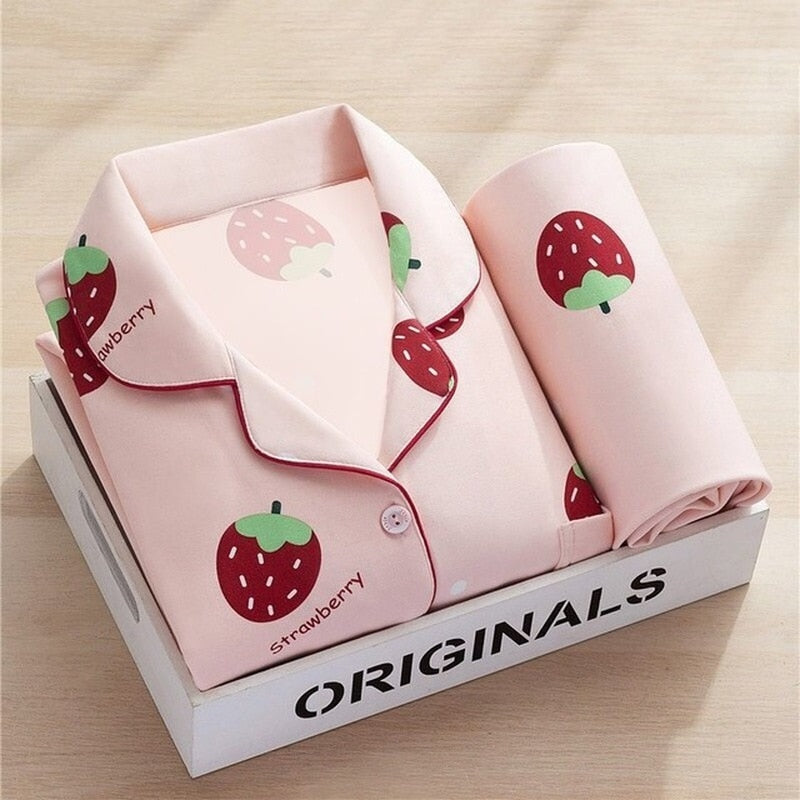 Strawberry Cotton Long Pajamas