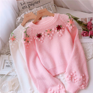 Soft Floral Knitted Sweater