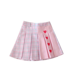 Harajuku Hearts Plaid Patchwork Mini Skirt