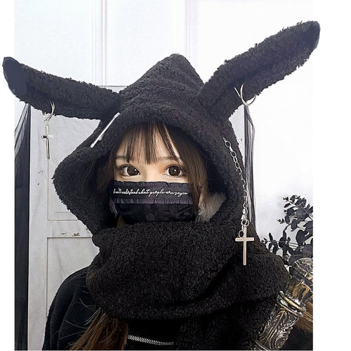 Gothic Bunny Hooded Scarf