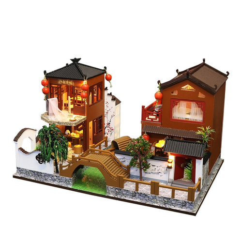 Chinese Ancient Town Dollhouse with Furniture and LED Lights