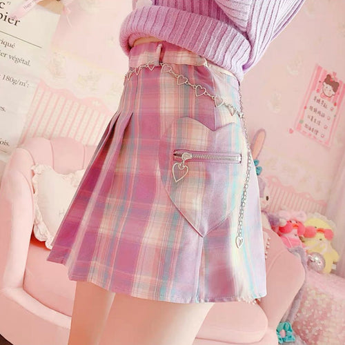 Plaid Pleated Harajuku Heart Skirt