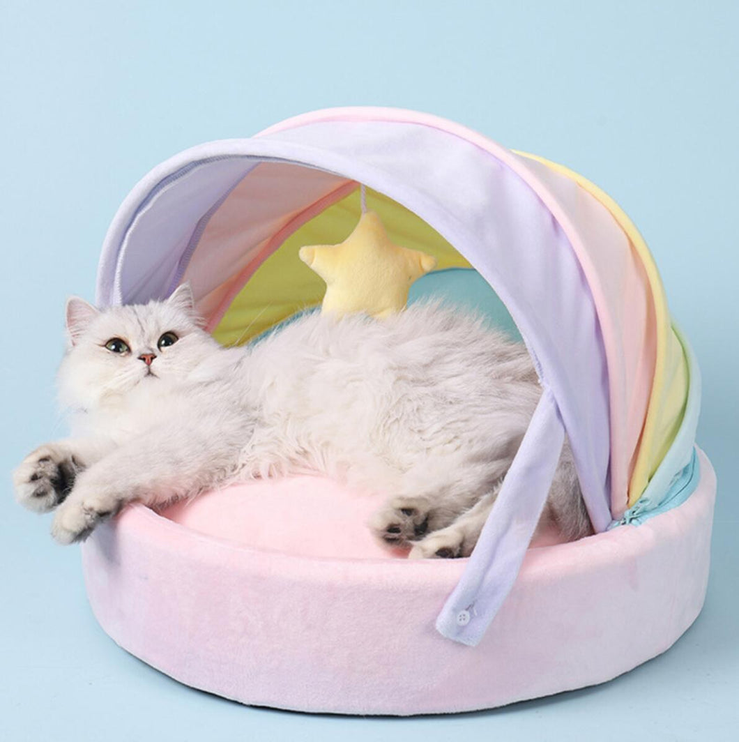 Soft Pastel Rainbow Cat Bed