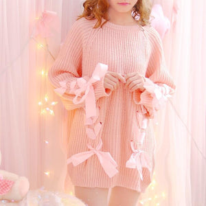 Lace Up Ribbons Long Knit Sweater
