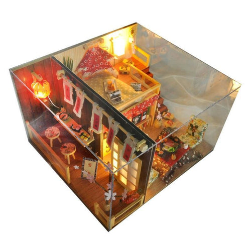 Miniature Japanese Style Dollhouse Cherry Blossoms Furniture Kits DIY Wooden Dolls House LED Lights Birthday Christmas Gift - Kawaii-Crafts.com