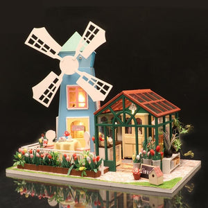 With Music Box Doll House Diy Miniature 3D Wooden Miniaturas Dollhouse Furniture Building Kits Toys for Children Christmas Gifts - Kawaii-Crafts.com