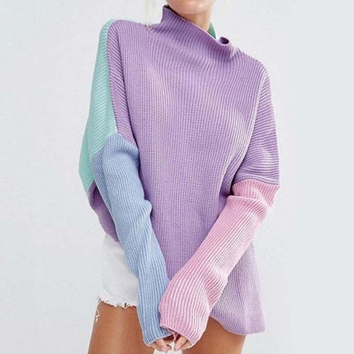 Chic Patchwork Turtleneck Sweater