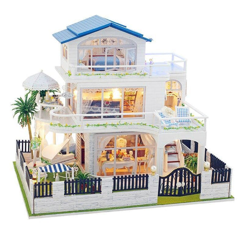 Assemble Diy Doll House Toy Wooden Miniatura Doll Houses Miniature Dollhouse Toys With Furniture Led Lights Kids Birthday Gifts - Kawaii-Crafts.com