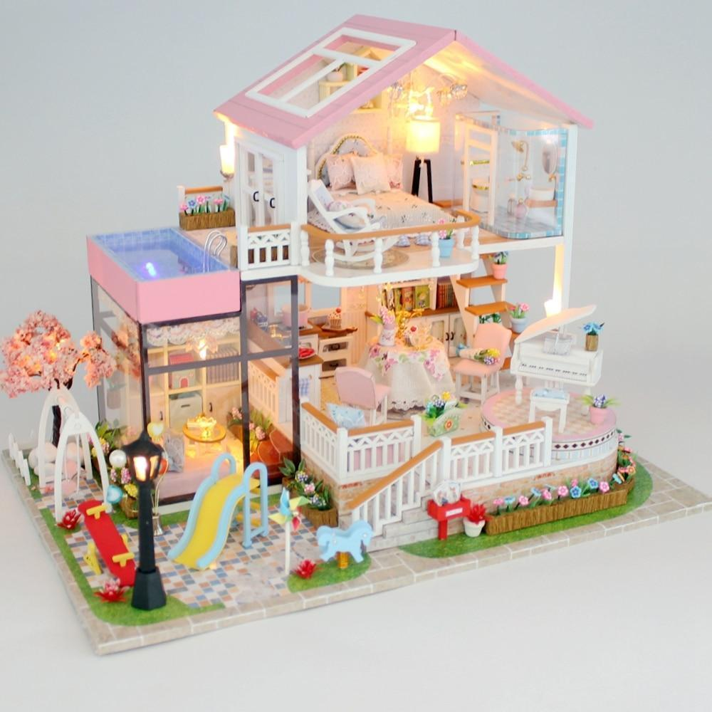 New Diy Doll House Wooden Miniature Doll Houses Furniture Kit Box Puzzle Assemble Sweet Word Dollhouse Toys For Christmas Gift - Kawaii-Crafts.com
