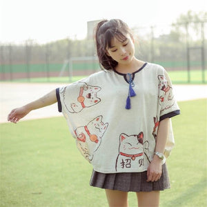 Lucky Cat Print T-Shirt