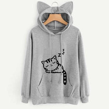 Load image into Gallery viewer, Kawaii Sleeping Neko Hoodie with Ears