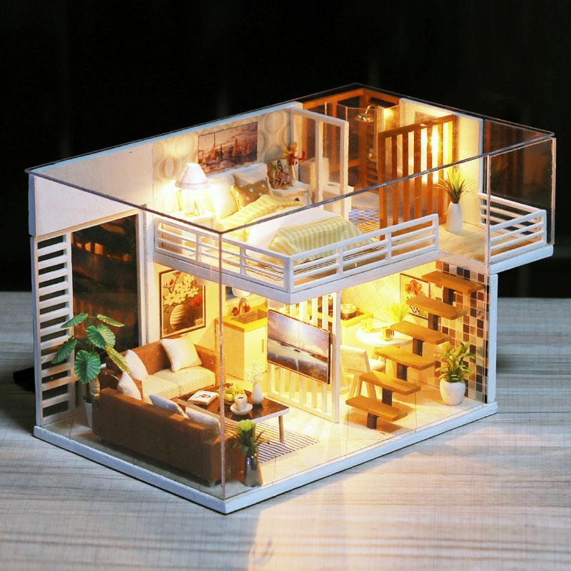 iiE Create Doll House Miniature Dollhouse Model DIY Wooden Toy  Dolls Houses with Furniture Toys Birthday Chritmas Gift K031 - Kawaii-Crafts.com
