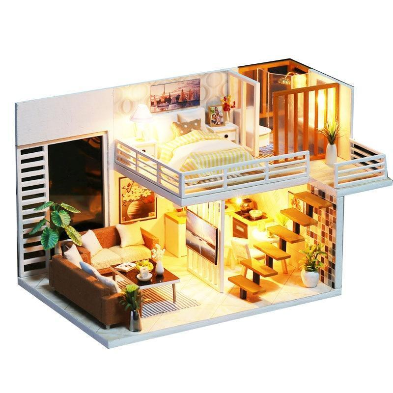 DIY Model Doll House Miniature Dollhouse with Furnitures LED 3D Wooden House Toys For Children Gift Handmade Crafts - Kawaii-Crafts.com