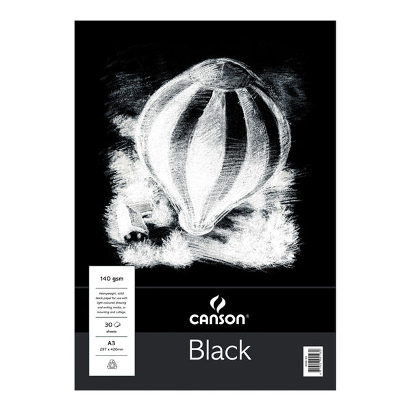 Canson Black Paper Pad A3 20 Sheets