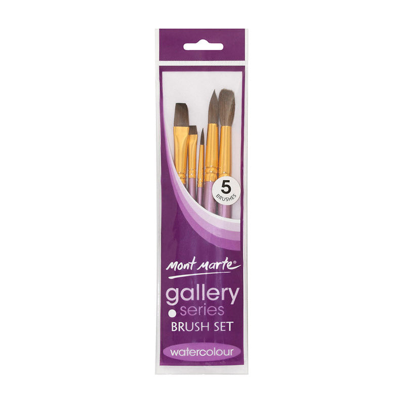 Mont Marte Gallery Series Brush Set Watercolour 5pce No.27