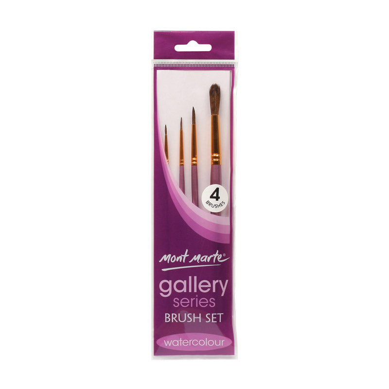 Mont Marte Gallery Series Brush Set Watercolour 4pce No.29