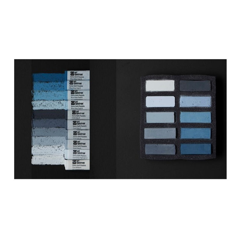 AS Extra Soft Square Pastels Box of 10 - Cool Greys